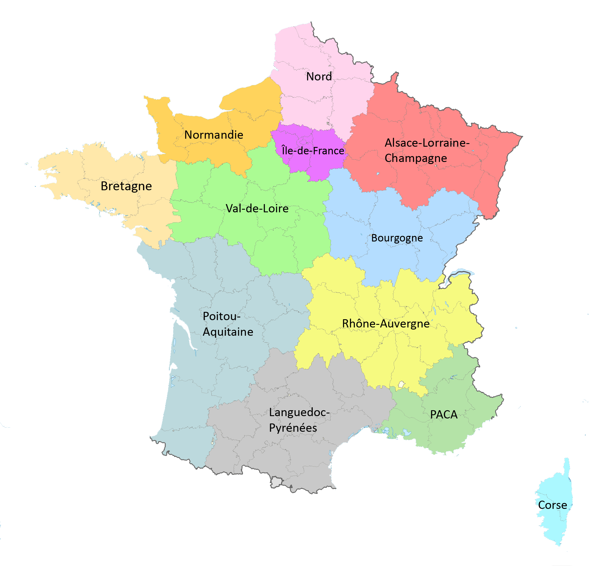 Info carte des 12 nouvelles regions francaises for B b carte france