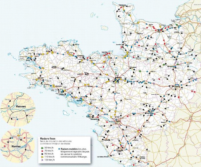 carte ouest de la france Notre carte des radars fixes et mobiles dans l'Ouest