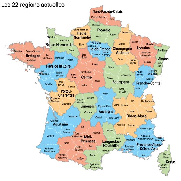 carte de france 22 regions